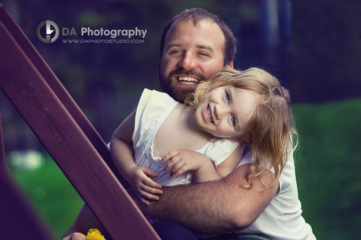 Daddy with her little girl, lifestyle portrait - Family Photo Session by DA Photography, www.daphotostudio.com, Sutton, ON